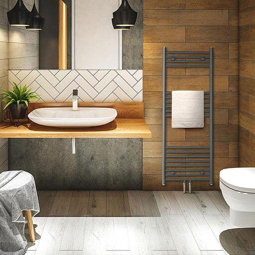 Fino 120 x 45 Heizkörper | Röhrenheizkörper | 18 Rippen | Mittel- oder Seitenanschluss / Wandinstallation | 387 W / max. 70 °C / max. 10,1 bar | Handtuchwärmer | 4 - 8 m² | kompatibel mit: Fernwärme/Warmwasser/Elektronisches Thermostat | grau