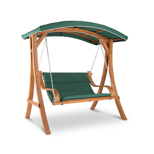 Tahiti Swing Chair Rocking Bench 110 cm 2-Seater Awning Polyester Larch