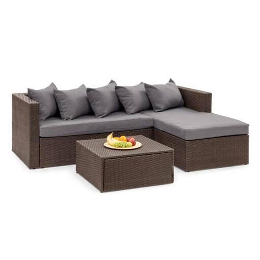 Blumfeldt Theia Lounge Salon de jardin complet polyrotin marron & gris foncé