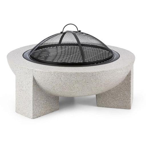 Blumfeldt Troja Fire Bowl 75cm Ø Hearth Grill Grate Steel MgO-Artificial Stone