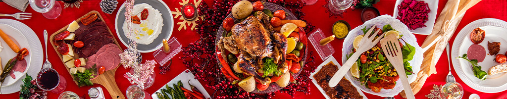 boxing day festive holiday food mood with red background