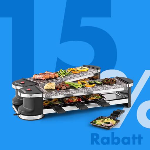 Tenderloin 100 Raclette-Grill | Leistung: 1200 W gesamt / 600 W je Balken | separater Betrieb beider Grillteile | 8 Personen | 2x Natursteinplatte